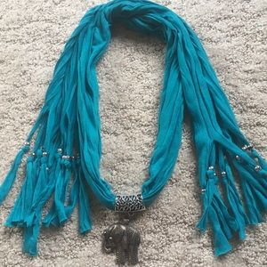 Accessories - Elephant jewelry on teal scarf